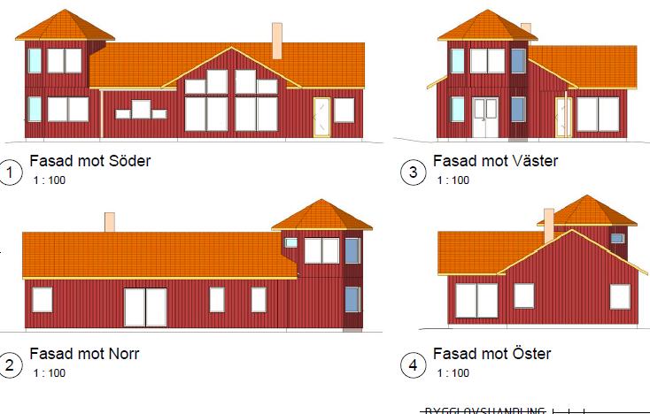 Hus med torn ritning färg